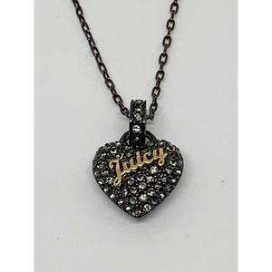 Juicy Couture Black Pave Heart Necklace
